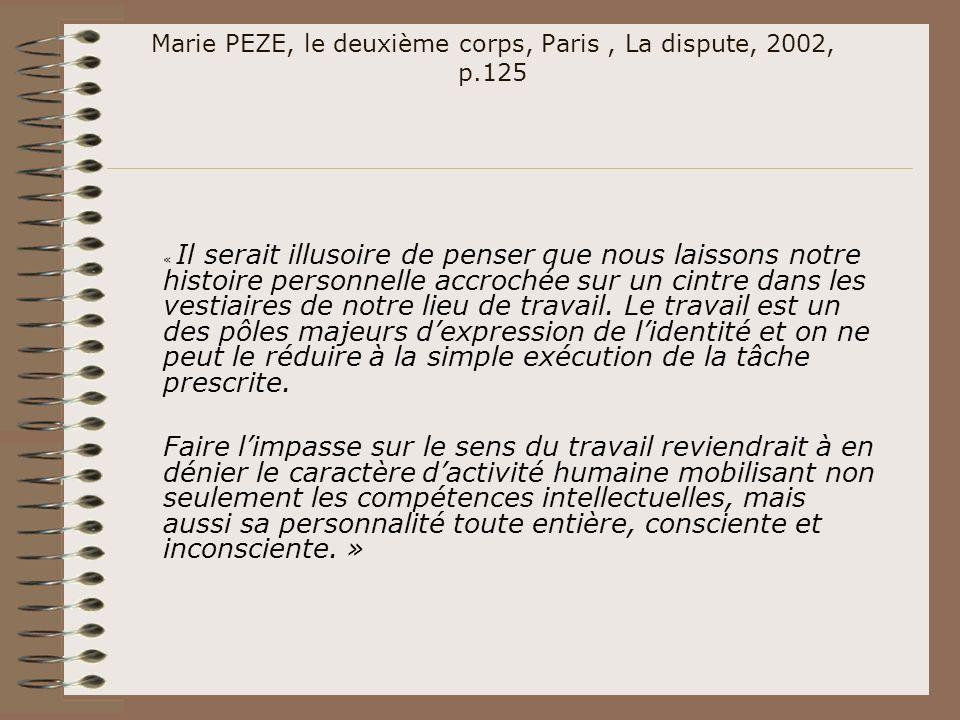 Marie PEZE, le deuxième corps, Paris, La dispute, 2002, p.125 « Il serait illusoire de penser que nous laissons notre histoire personnelle accrochée s