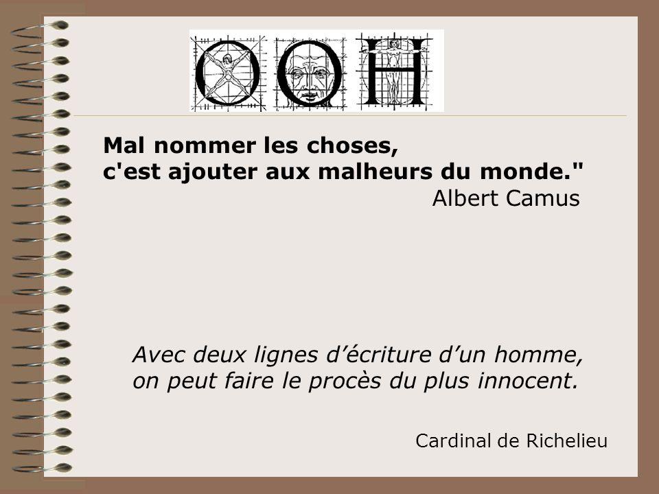 Avec deux lignes décriture dun homme, on peut faire le procès du plus innocent. Cardinal de Richelieu Mal nommer les choses, c'est ajouter aux malheur