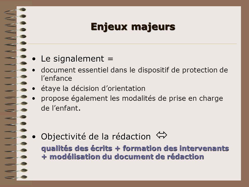 Le signalementLe signalement = document essentiel dans le dispositif de protection de lenfance étaye la décision dorientation propose également les mo