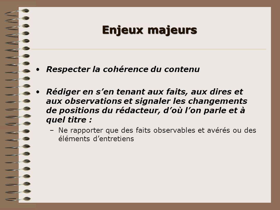 Enjeux majeurs Respecter la cohérence du contenu Rédiger en sen tenant aux faits, aux dires et aux observations et signaler les changements de positio