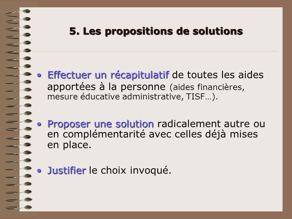 5. Les propositions de solutions Effectuer un récapitulatifEffectuer un récapitulatif de toutes les aides apportées à la personne (aides financières,