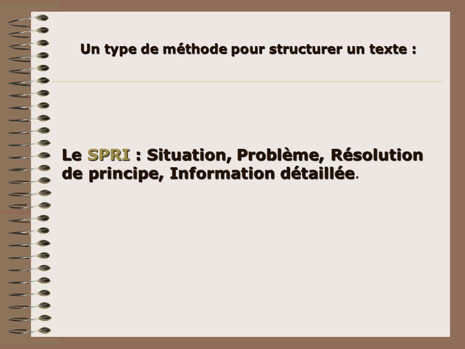 Un type de méthode pour structurer un texte : Le SPRI : Situation, Problème, Résolution de principe, Information détaillée Le SPRI : Situation, Problè