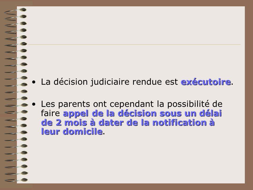 exécutoireLa décision judiciaire rendue est exécutoire. appel de la décision sous un délai de 2 mois à dater de la notification à leur domicileLes par