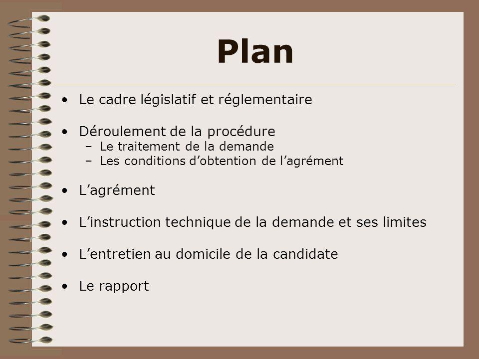 Plan Le cadre législatif et réglementaire Déroulement de la procédure –Le traitement de la demande –Les conditions dobtention de lagrément Lagrément L