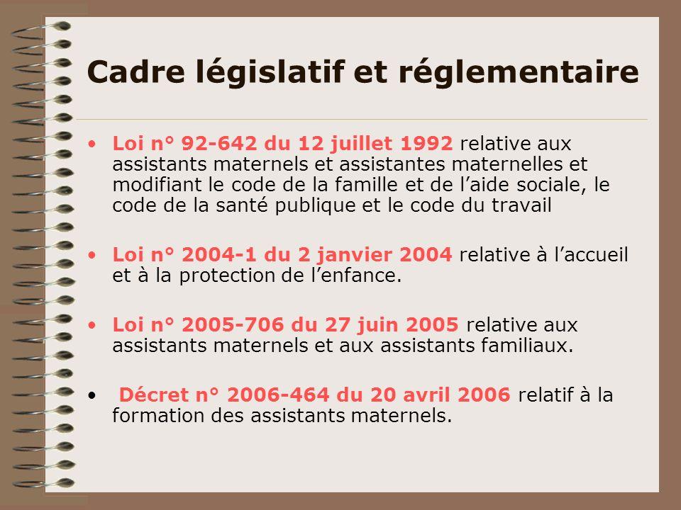 Cadre législatif et réglementaire Loi n° 92-642 du 12 juillet 1992 relative aux assistants maternels et assistantes maternelles et modifiant le code d