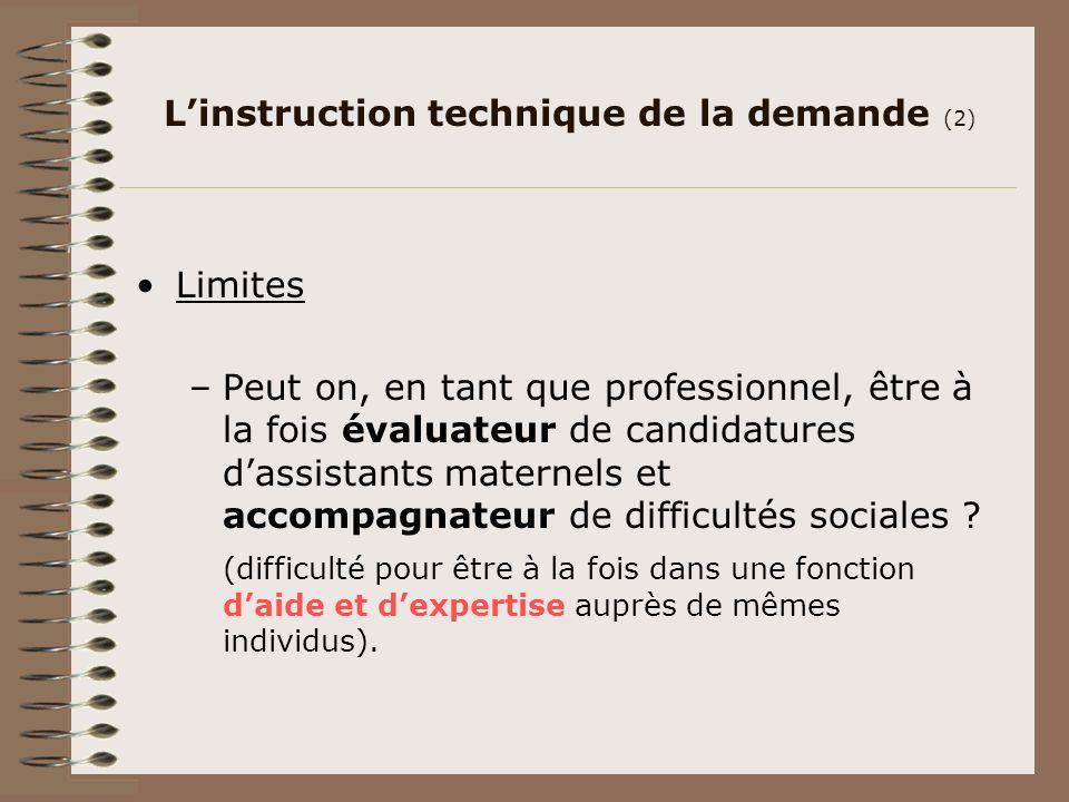 Linstruction technique de la demande (2) Limites –Peut on, en tant que professionnel, être à la fois évaluateur de candidatures dassistants maternels