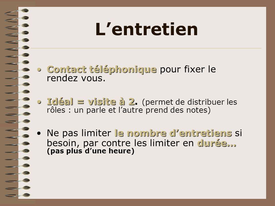 Lentretien Contact téléphoniqueContact téléphonique pour fixer le rendez vous. Idéal = visite à 2Idéal = visite à 2. (permet de distribuer les rôles :