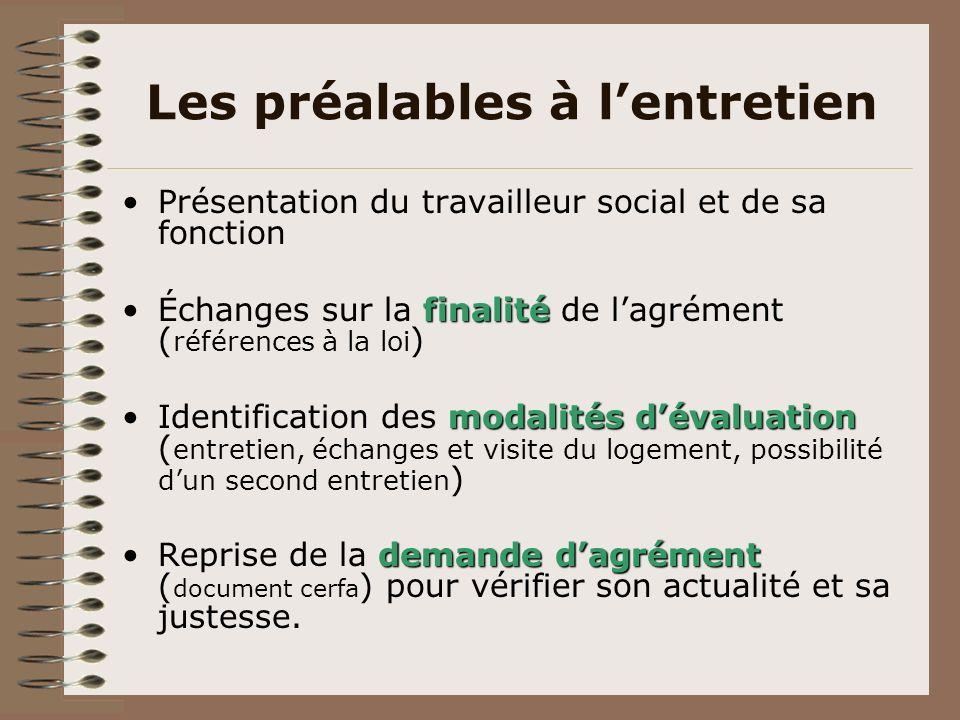 Les préalables à lentretien Présentation du travailleur social et de sa fonction finalitéÉchanges sur la finalité de lagrément ( références à la loi )