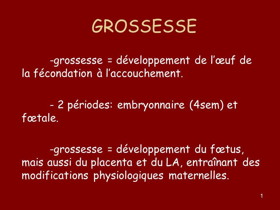 1 GROSSESSE -grossesse = développement de lœuf de la fécondation à laccouchement. - 2 périodes: embryonnaire (4sem) et fœtale. -grossesse = développem