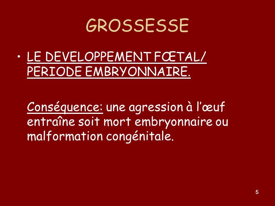 5 GROSSESSE LE DEVELOPPEMENT FŒTAL/ PERIODE EMBRYONNAIRE. Conséquence: une agression à lœuf entraîne soit mort embryonnaire ou malformation congénital