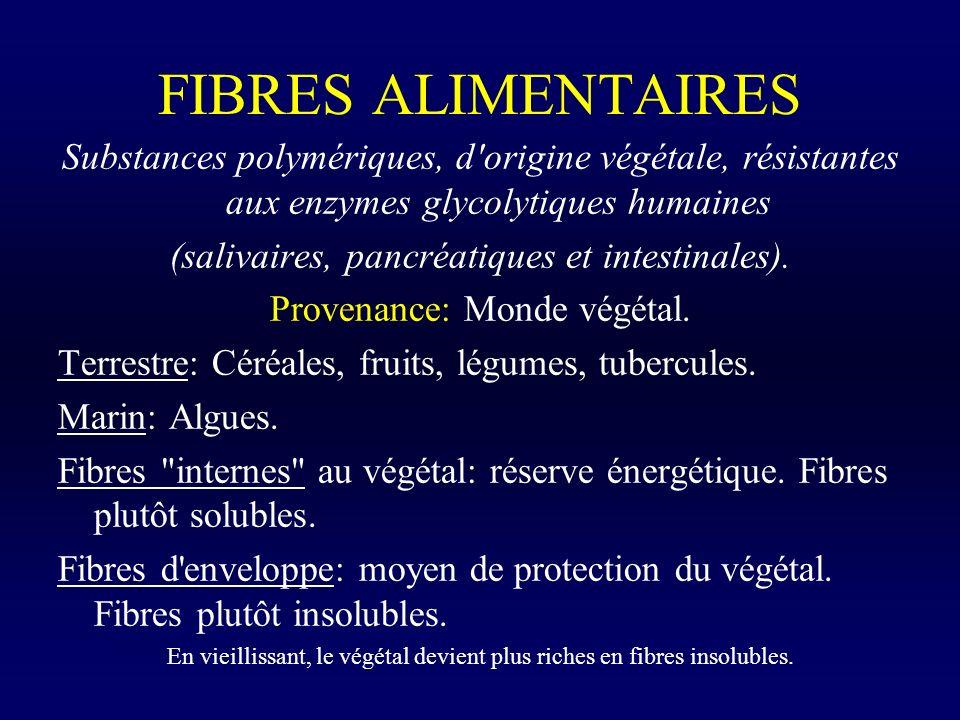 FIBRES ALIMENTAIRES Substances polymériques, d'origine végétale, résistantes aux enzymes glycolytiques humaines (salivaires, pancréatiques et intestin