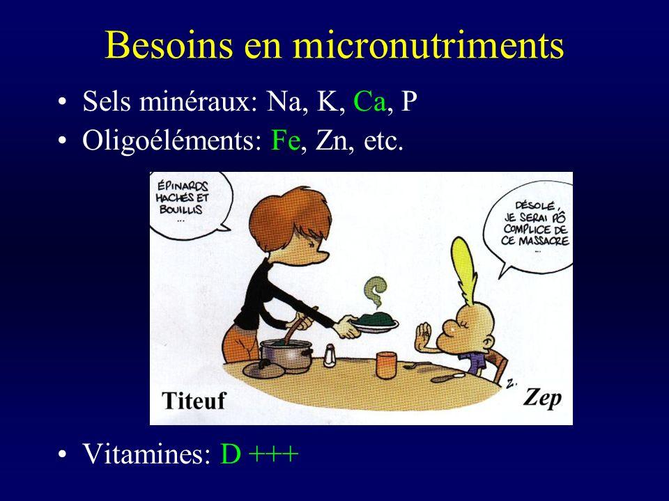 Besoins en micronutriments Sels minéraux: Na, K, Ca, P Oligoéléments: Fe, Zn, etc. Vitamines: D +++