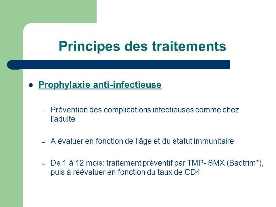 Principes des traitements Prophylaxie anti-infectieuse – Prévention des complications infectieuses comme chez ladulte – A évaluer en fonction de lâge