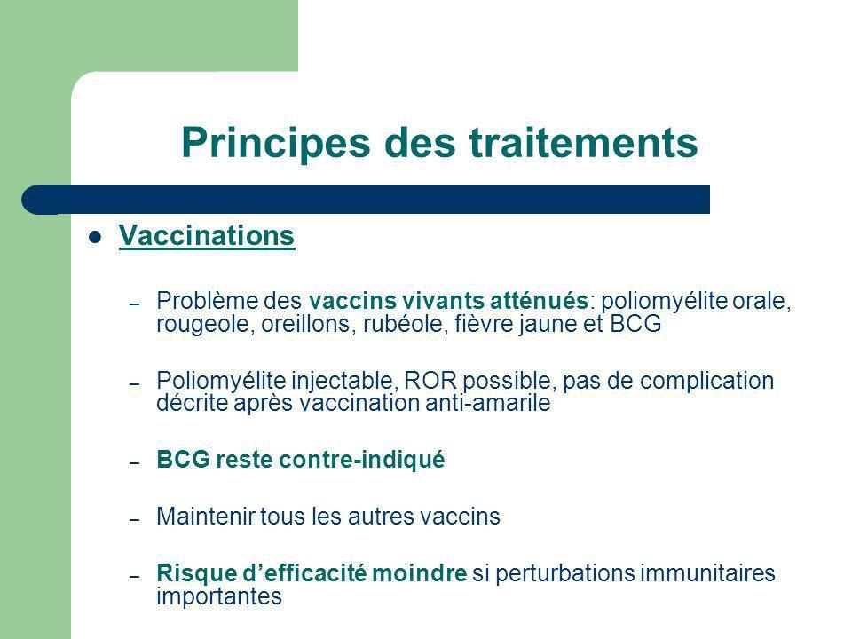 Principes des traitements Vaccinations – Problème des vaccins vivants atténués: poliomyélite orale, rougeole, oreillons, rubéole, fièvre jaune et BCG