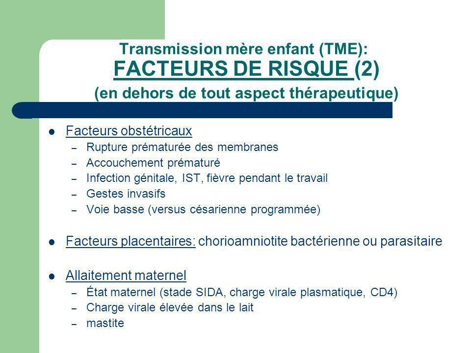Transmission mère enfant (TME): FACTEURS DE RISQUE (2) (en dehors de tout aspect thérapeutique) Facteurs obstétricaux – Rupture prématurée des membran