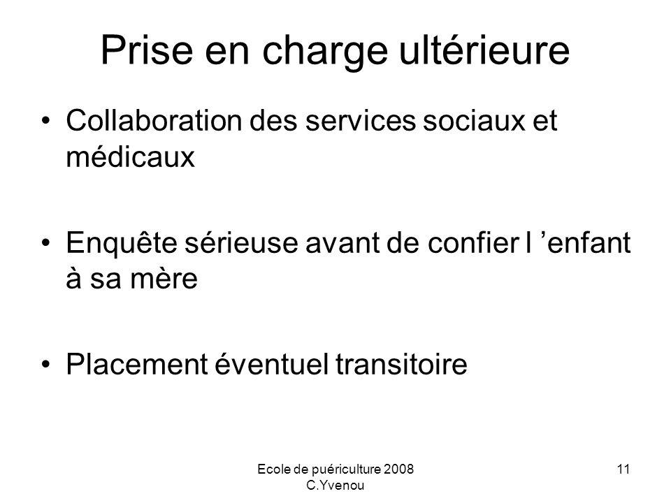 Ecole de puériculture 2008 C.Yvenou 11 Prise en charge ultérieure Collaboration des services sociaux et médicaux Enquête sérieuse avant de confier l e