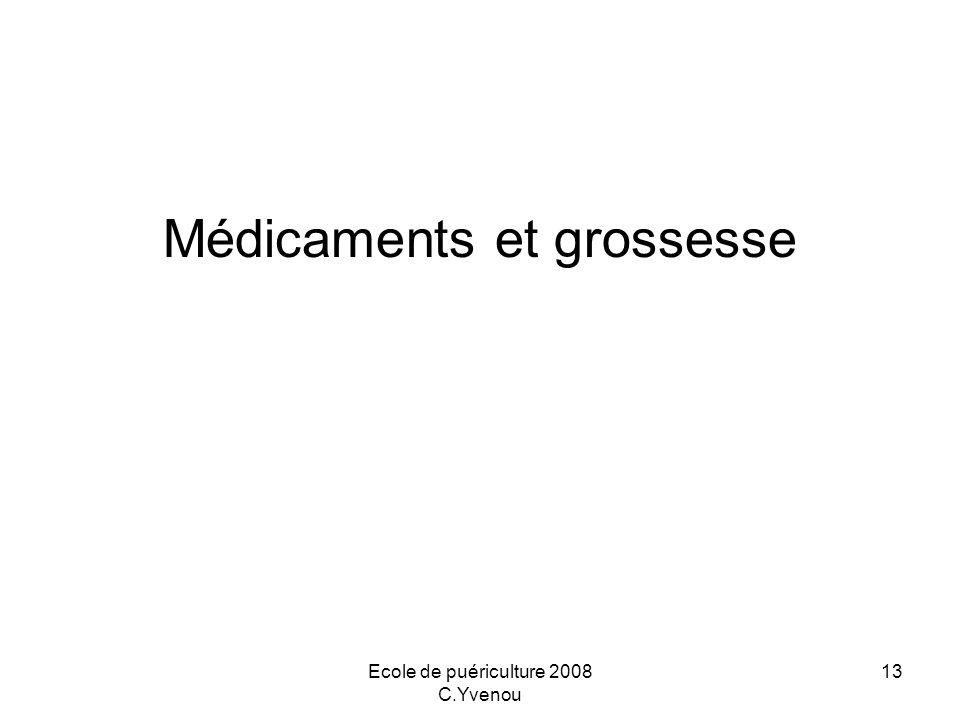 Ecole de puériculture 2008 C.Yvenou 13 Médicaments et grossesse