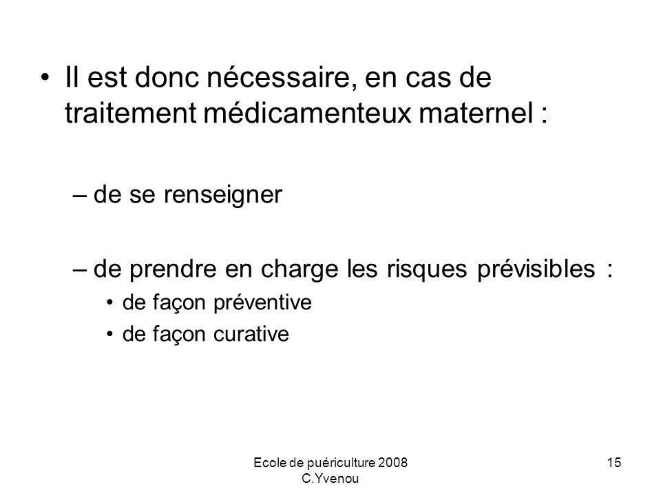 Ecole de puériculture 2008 C.Yvenou 15 Il est donc nécessaire, en cas de traitement médicamenteux maternel : –de se renseigner –de prendre en charge l
