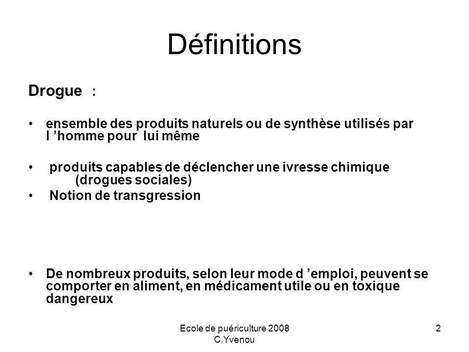 Ecole de puériculture 2008 C.Yvenou 2 Définitions Drogue : ensemble des produits naturels ou de synthèse utilisés par l homme pour lui même produits c