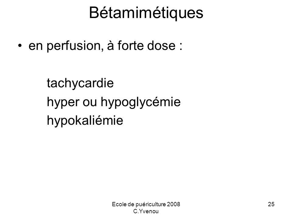 Ecole de puériculture 2008 C.Yvenou 25 Bétamimétiques en perfusion, à forte dose : tachycardie hyper ou hypoglycémie hypokaliémie