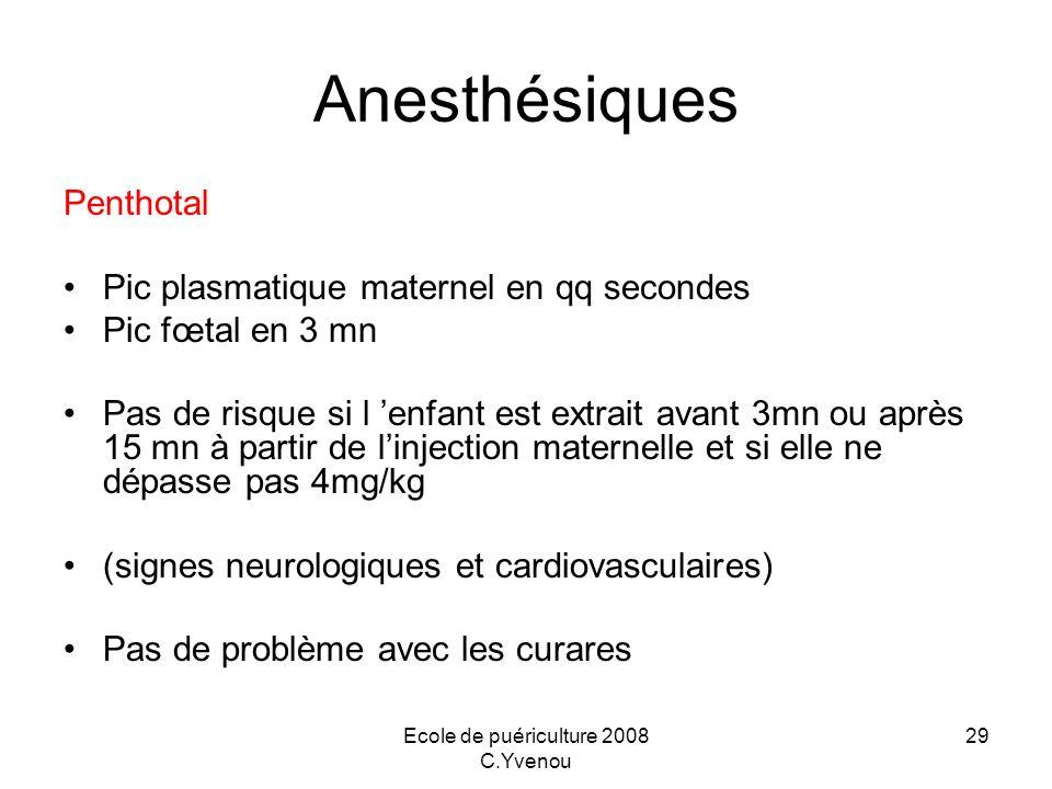 Ecole de puériculture 2008 C.Yvenou 29 Anesthésiques Penthotal Pic plasmatique maternel en qq secondes Pic fœtal en 3 mn Pas de risque si l enfant est