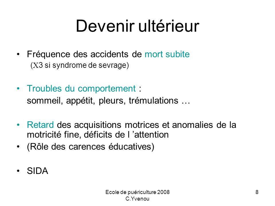 Ecole de puériculture 2008 C.Yvenou 8 Devenir ultérieur Fréquence des accidents de mort subite ( 3 si syndrome de sevrage) Troubles du comportement :