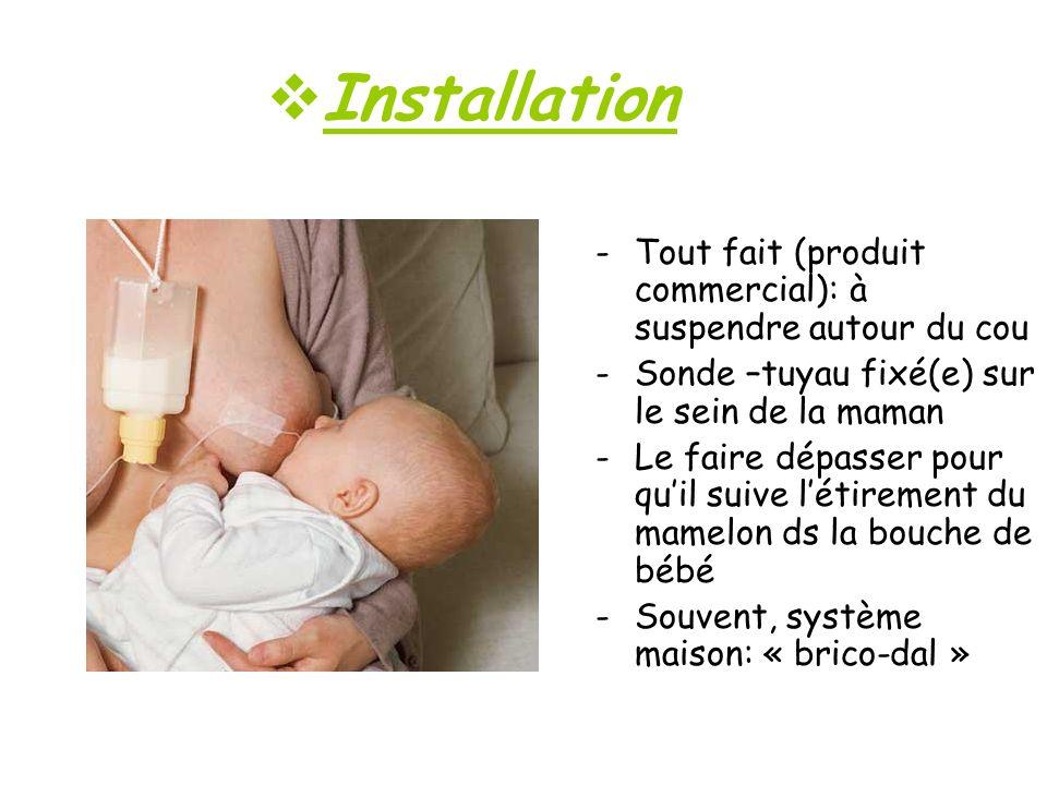 Installation -Tout fait (produit commercial): à suspendre autour du cou -Sonde –tuyau fixé(e) sur le sein de la maman -Le faire dépasser pour quil sui