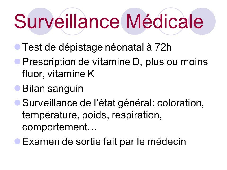 Surveillance Médicale Test de dépistage néonatal à 72h Prescription de vitamine D, plus ou moins fluor, vitamine K Bilan sanguin Surveillance de létat général: coloration, température, poids, respiration, comportement… Examen de sortie fait par le médecin
