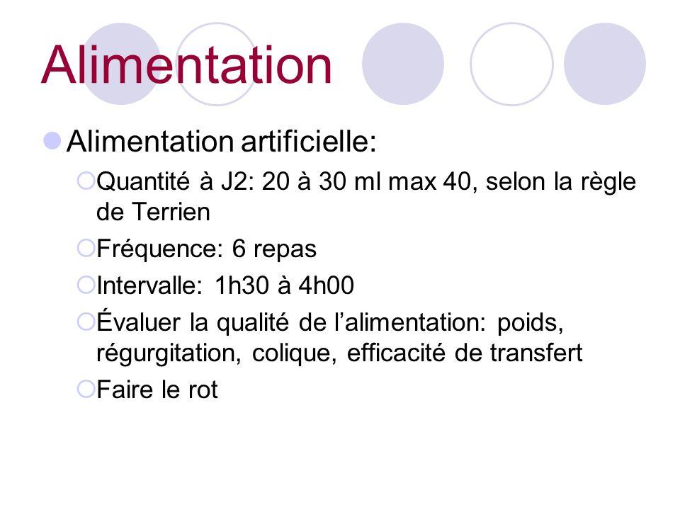 Alimentation Alimentation artificielle: Quantité à J2: 20 à 30 ml max 40, selon la règle de Terrien Fréquence: 6 repas Intervalle: 1h30 à 4h00 Évaluer la qualité de lalimentation: poids, régurgitation, colique, efficacité de transfert Faire le rot