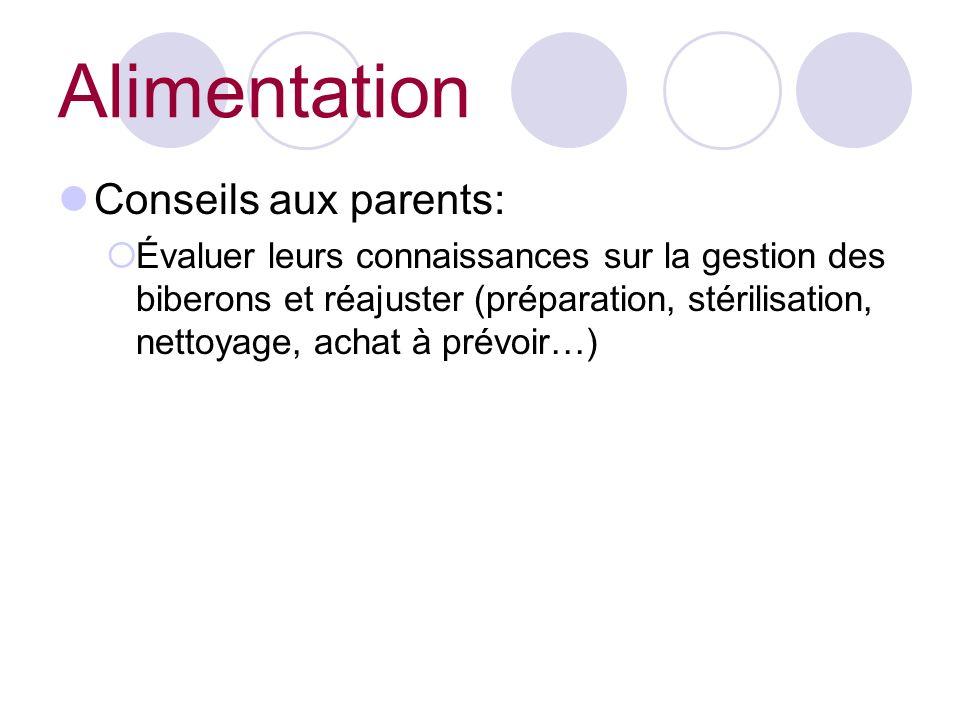 Conseils aux parents: Évaluer leurs connaissances sur la gestion des biberons et réajuster (préparation, stérilisation, nettoyage, achat à prévoir…) Alimentation
