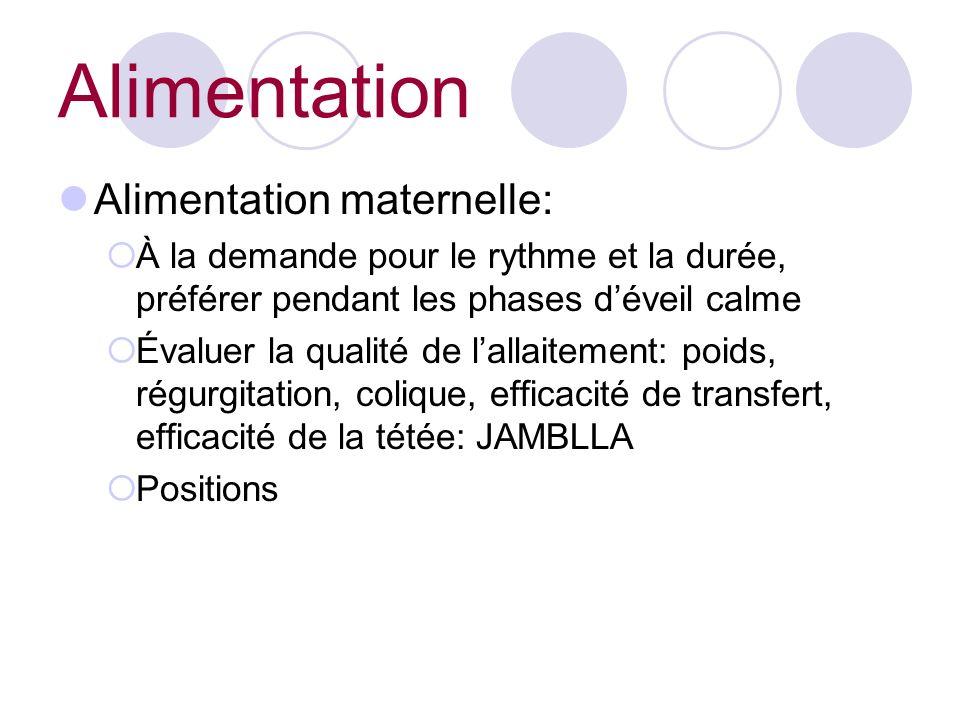 Alimentation maternelle: À la demande pour le rythme et la durée, préférer pendant les phases déveil calme Évaluer la qualité de lallaitement: poids, régurgitation, colique, efficacité de transfert, efficacité de la tétée: JAMBLLA Positions