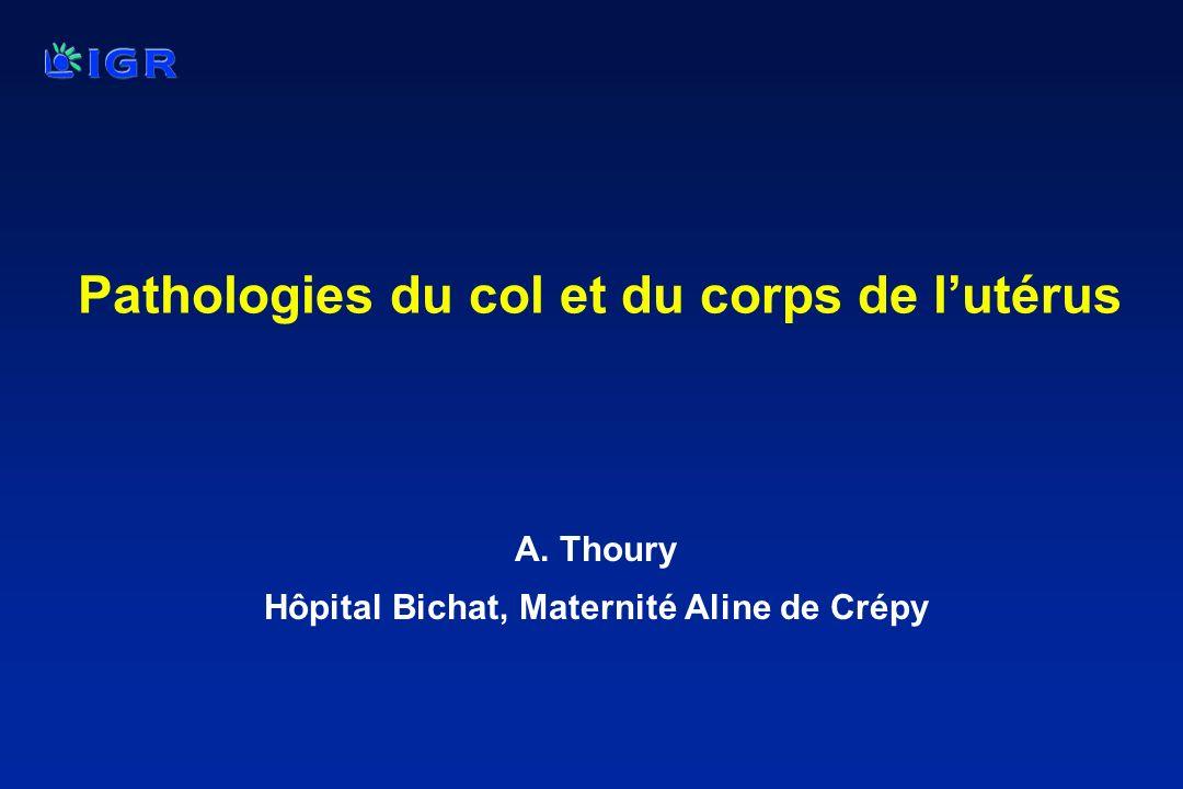 Pathologies du col et du corps de lutérus A. Thoury Hôpital Bichat, Maternité Aline de Crépy