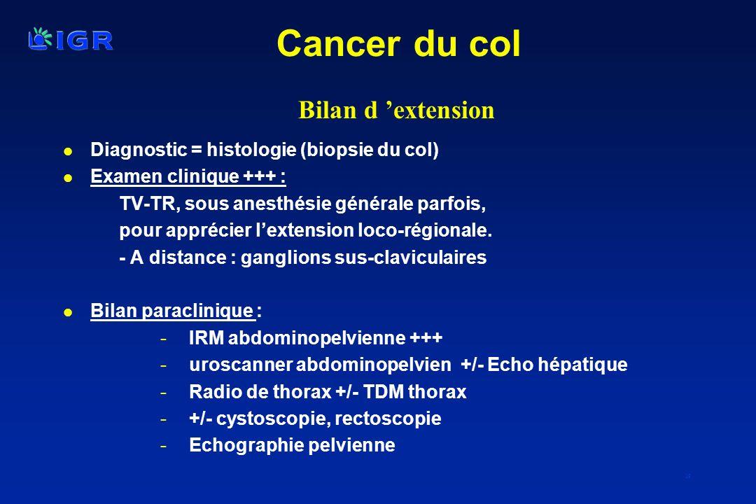 19 l Diagnostic = histologie (biopsie du col) l Examen clinique +++ : TV-TR, sous anesthésie générale parfois, pour apprécier lextension loco-régional