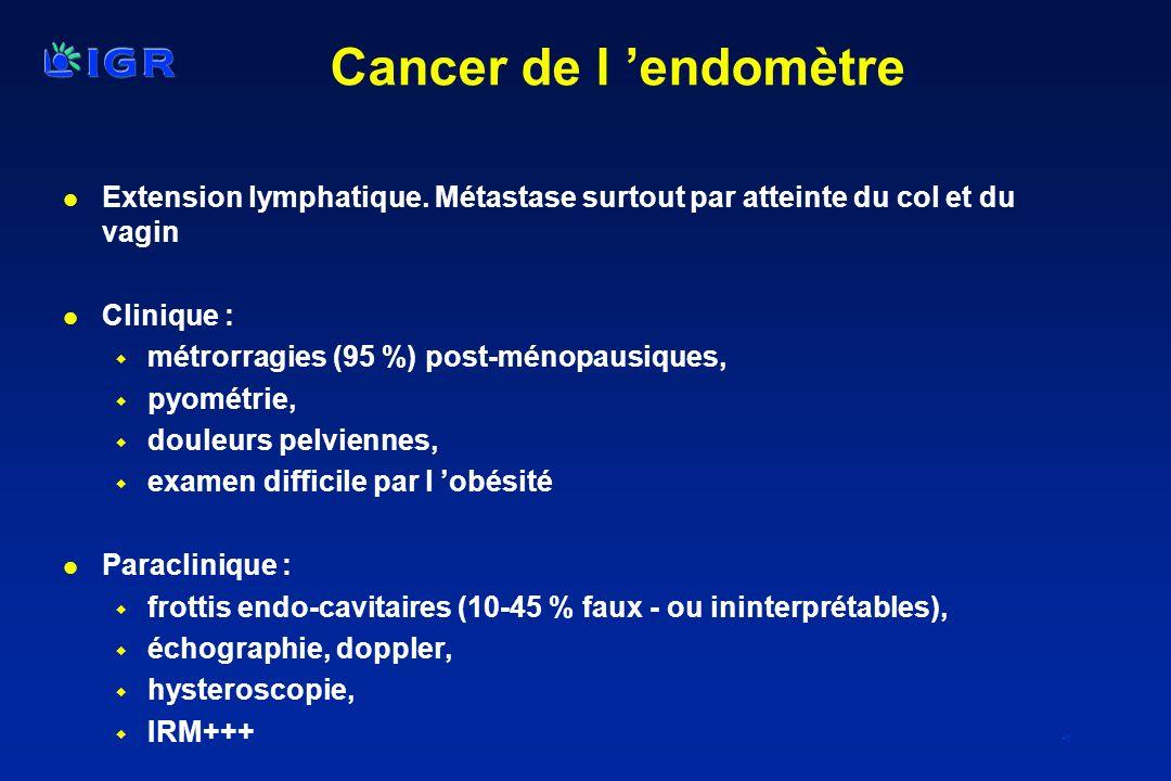 46 Cancer de l endomètre l Extension lymphatique. Métastase surtout par atteinte du col et du vagin l Clinique : w métrorragies (95 %) post-ménopausiq