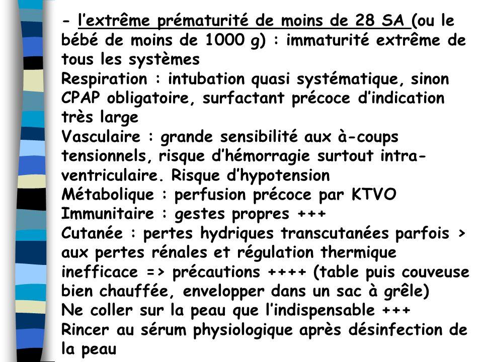 - lextrême prématurité de moins de 28 SA (ou le bébé de moins de 1000 g) : immaturité extrême de tous les systèmes Respiration : intubation quasi syst