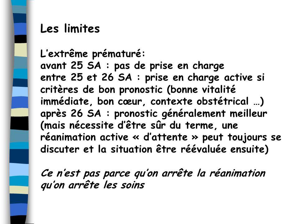 Les limites Lextrême prématuré: avant 25 SA : pas de prise en charge entre 25 et 26 SA : prise en charge active si critères de bon pronostic (bonne vi