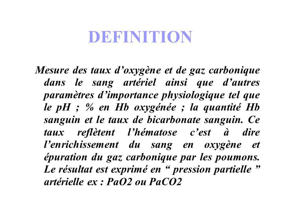 DEFINITION Mesure des taux doxygène et de gaz carbonique dans le sang artériel ainsi que dautres paramètres dimportance physiologique tel que le pH ;