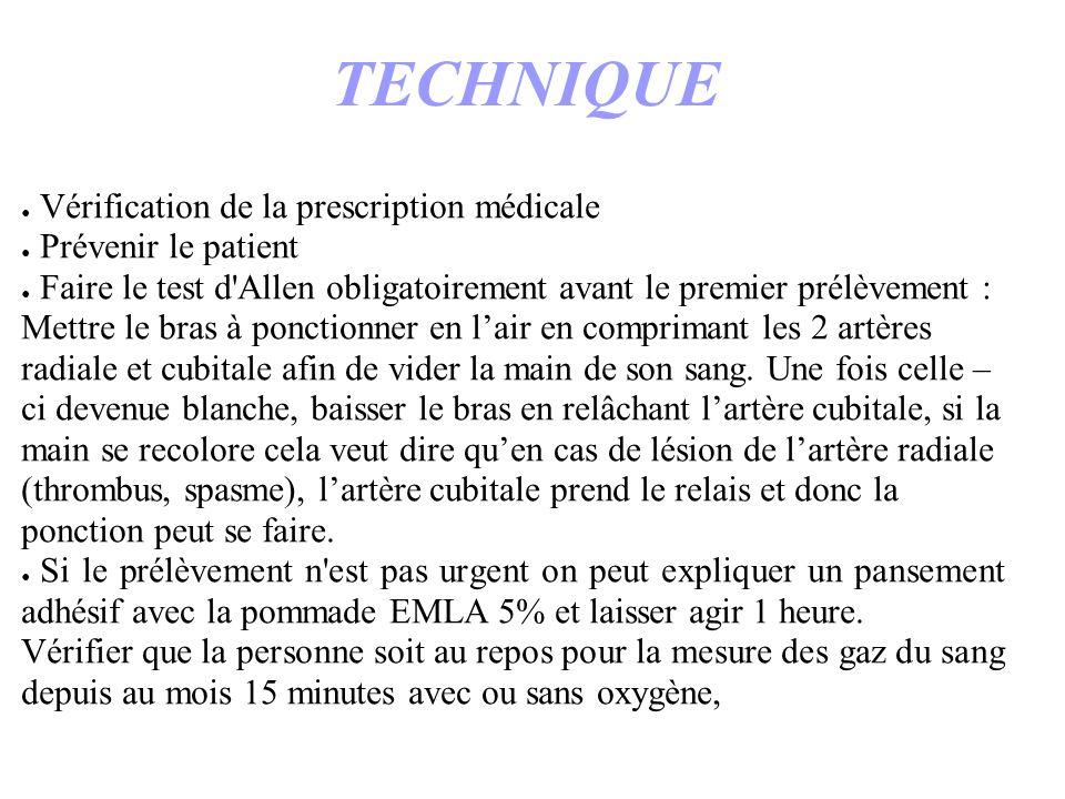TECHNIQUE Vérification de la prescription médicale Prévenir le patient Faire le test d'Allen obligatoirement avant le premier prélèvement : Mettre le