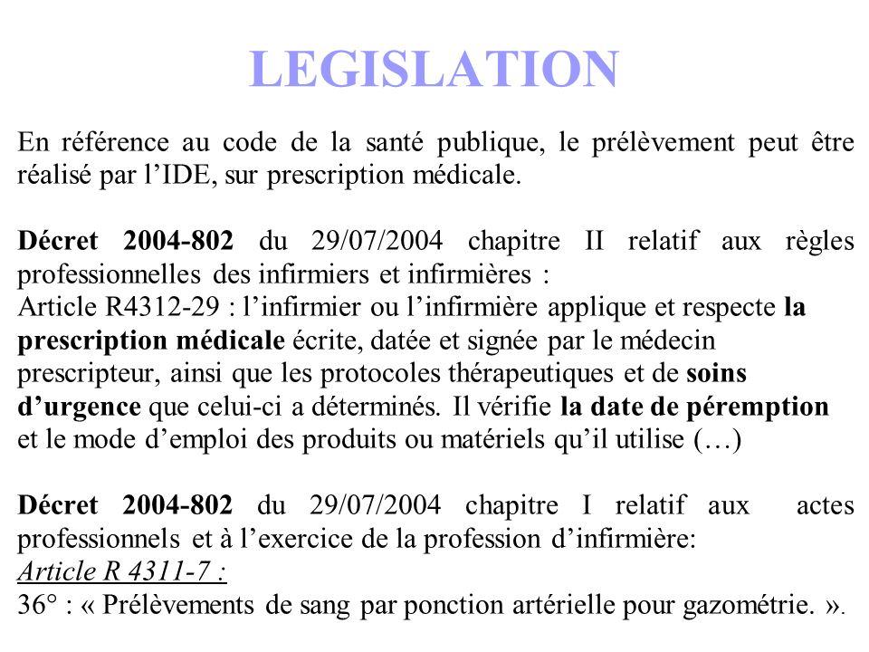 LEGISLATION En référence au code de la santé publique, le prélèvement peut être réalisé par lIDE, sur prescription médicale. Décret 2004-802 du 29/07/