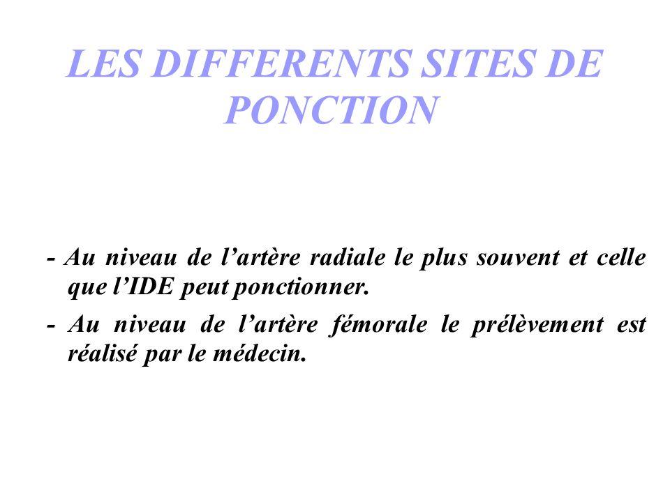 LES DIFFERENTS SITES DE PONCTION - Au niveau de lartère radiale le plus souvent et celle que lIDE peut ponctionner. - Au niveau de lartère fémorale le