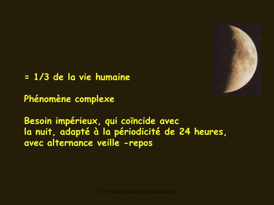 C.Yvenou Ecole de puériculture 20082 = 1/3 de la vie humaine Phénomène complexe Besoin impérieux, qui coïncide avec la nuit, adapté à la périodicité de 24 heures, avec alternance veille -repos