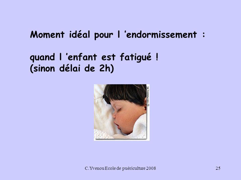 C.Yvenou Ecole de puériculture 200825 Moment idéal pour l endormissement : quand l enfant est fatigué .