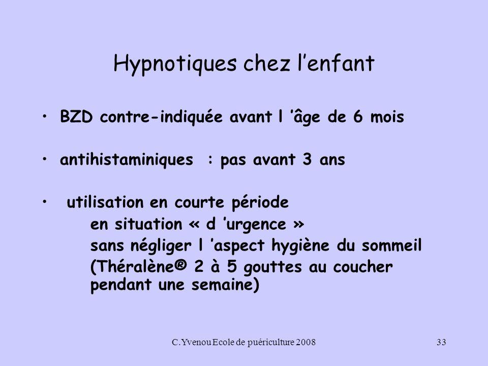 C.Yvenou Ecole de puériculture 200833 Hypnotiques chez lenfant BZD contre-indiquée avant l âge de 6 mois antihistaminiques : pas avant 3 ans utilisation en courte période en situation « d urgence » sans négliger l aspect hygiène du sommeil (Théralène® 2 à 5 gouttes au coucher pendant une semaine)