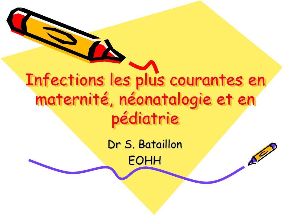 Généralités (1) Etude multicentrique du CCLIN Sud-Est : estimation du nombre dIN en maternité, en néonatalogie, en pédiatrie : –3% des femmes ayant accouché par voie basse (0,5 à 5% autres études américaines) –9,3% des femmes césarisées (11,5 à 65%) –2,7% des nouveaux-nés (0,9 à 1,7%) –En France pour les unités des soins intensifs néonatales, taux de 7,2%