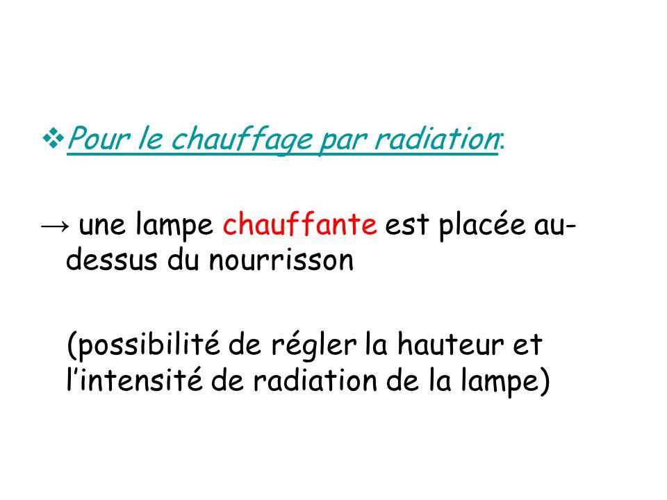 Pour le chauffage par radiation : une lampe chauffante est placée au- dessus du nourrisson (possibilité de régler la hauteur et lintensité de radiatio