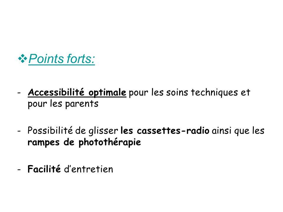 Points forts: -Accessibilité optimale pour les soins techniques et pour les parents -Possibilité de glisser les cassettes-radio ainsi que les rampes d