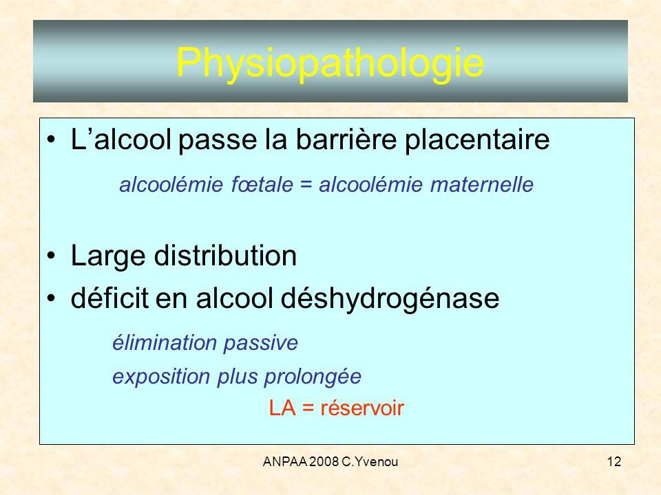 ANPAA 2008 C.Yvenou12 Physiopathologie Lalcool passe la barrière placentaire alcoolémie fœtale = alcoolémie maternelle Large distribution déficit en a
