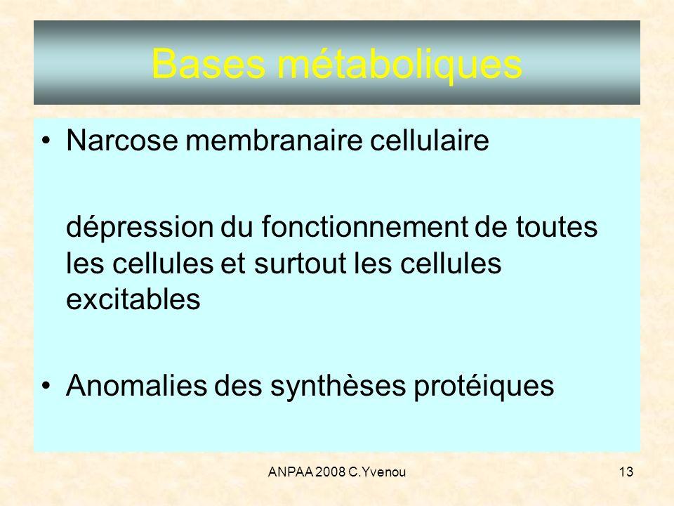 ANPAA 2008 C.Yvenou13 Bases métaboliques Narcose membranaire cellulaire dépression du fonctionnement de toutes les cellules et surtout les cellules ex