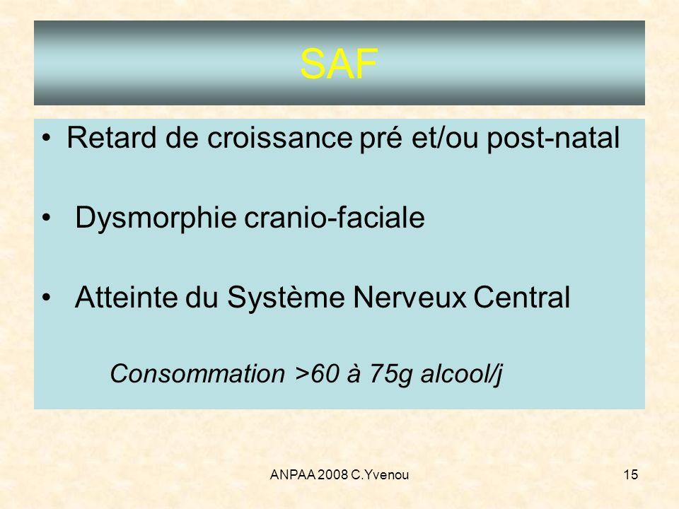 ANPAA 2008 C.Yvenou15 SAF Retard de croissance pré et/ou post-natal Dysmorphie cranio-faciale Atteinte du Système Nerveux Central Consommation >60 à 7