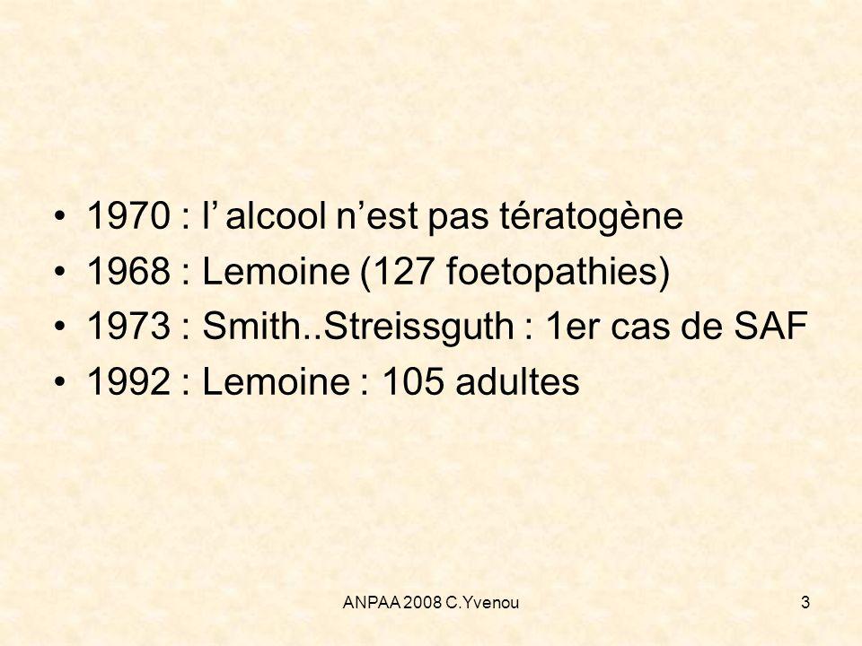 ANPAA 2008 C.Yvenou54 Effet sur lenfant allaité Variable selon quantité dalcool absorbée, délai de mise au sein, âge de lenfant Capacité délimination 2 fois plus basse dans le premier mois de vie (/adulte), complète à partir de 3 mois Absorption de <1g/kg dalcool ne posera pas de problème à court terme Stimulation de la succion (goût particulier) mais diminution de la quantité de lait absorbée